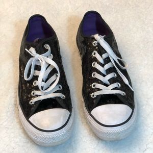 CONVERSE All Star Black Sequin Sneakers 8 M/10 W